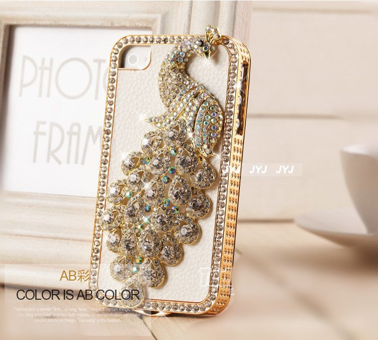 Crystal Girl Iphone 4 Cover Luxury Leather IPhone 5 Case 3D Bling Peocock 4s