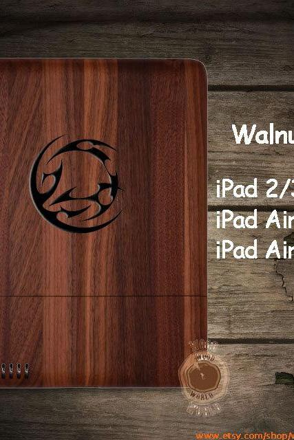 Personalized Guardians iPad 2/3/4 wood case, iPad Air 2 Cover, iPad mini 2 3 wooden case , walnut Cherry Bamboo, natural Gift P047