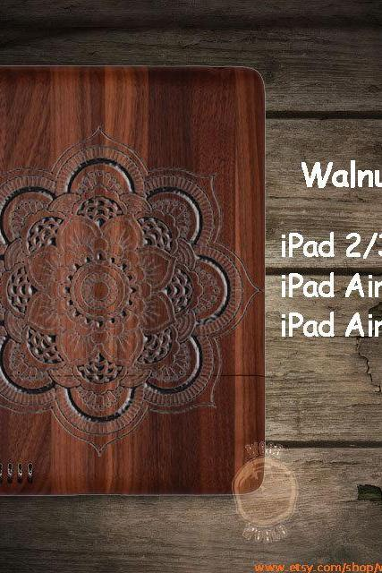 Personalized Mandala iPad 2/3/4 wood case, iPad Air 2, iPad mini 2 3 wooden case , walnut Cherry Bamboo, natural wooden case,Gift P004